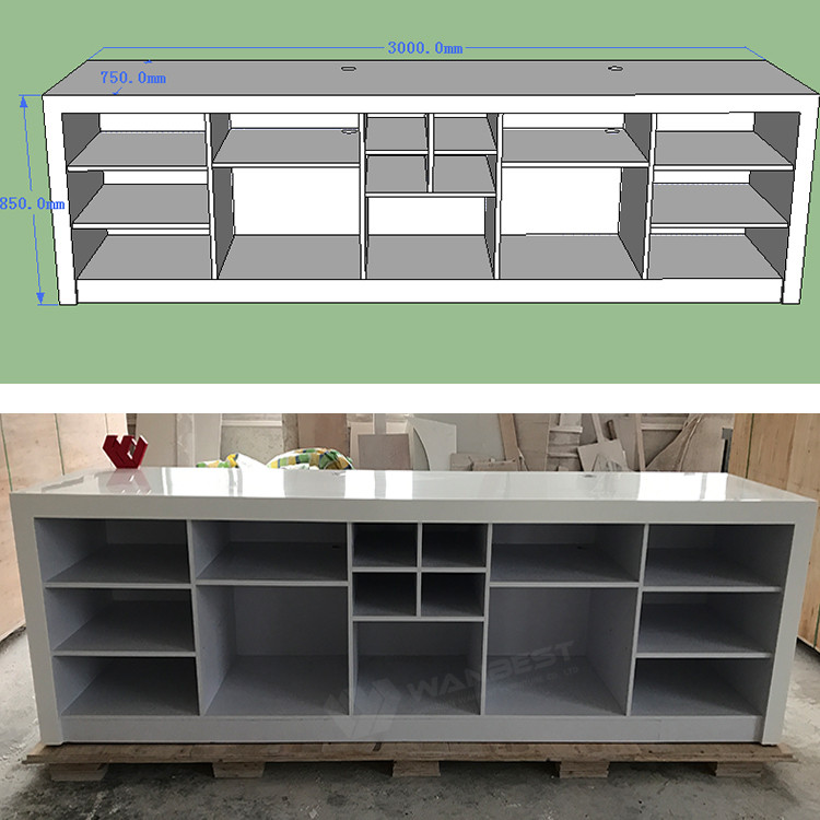 The behind of bar counter with 3D drawing