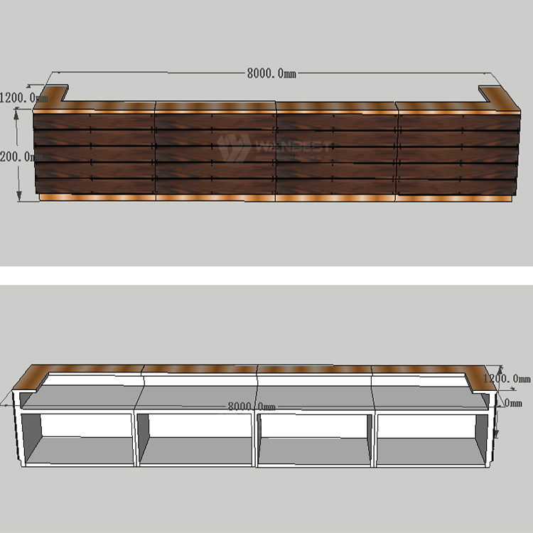 The 3D drawing of commercial bar counter