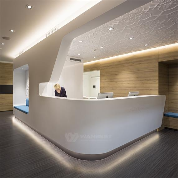 2018 New White Arc artificial stone LED reception desk
