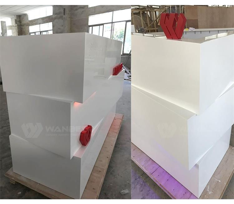 The more details of white reception desk