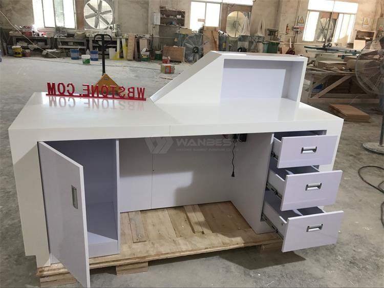 The behind of white reception desk