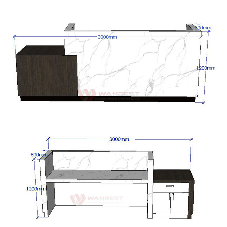 The 3D drawing of reception desk