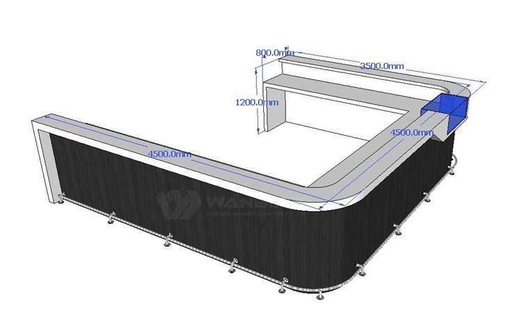 The side 3D drawing of bar counter