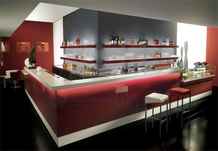 Solid surface red bar counter