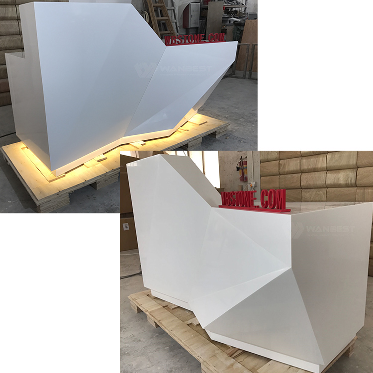 white LED lighting corian reception desk