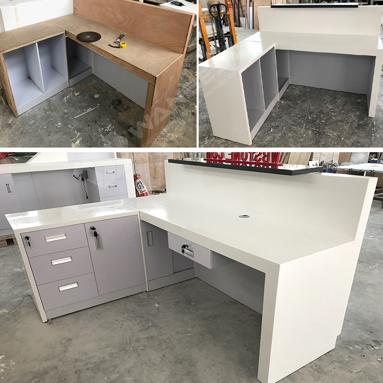 The details of white reception desk