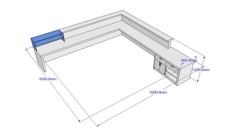 The behind of 3D drawing bar counter