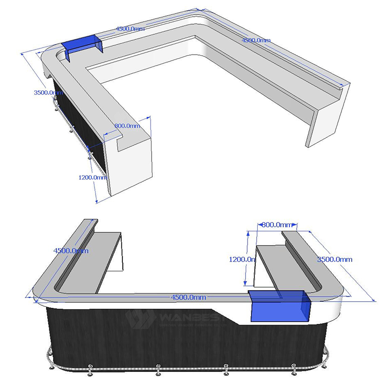 The 3D drawing of bar counter