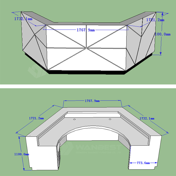 The 3D drawing of corian reception desk