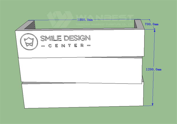 The front of reception desk 3D drawing