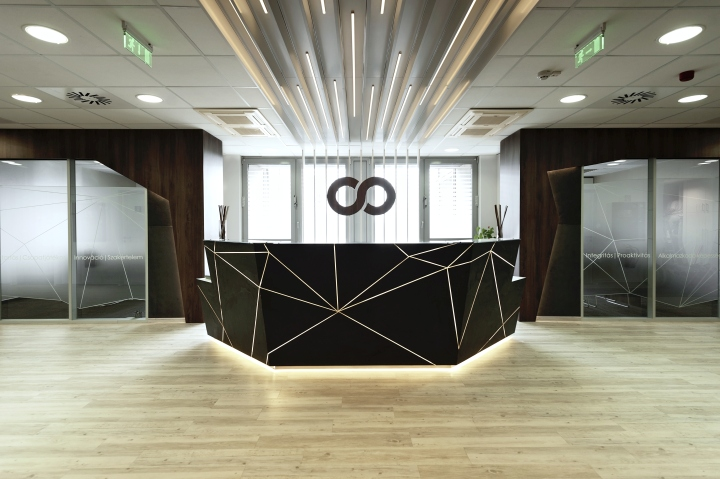 Black solid surface reception desk