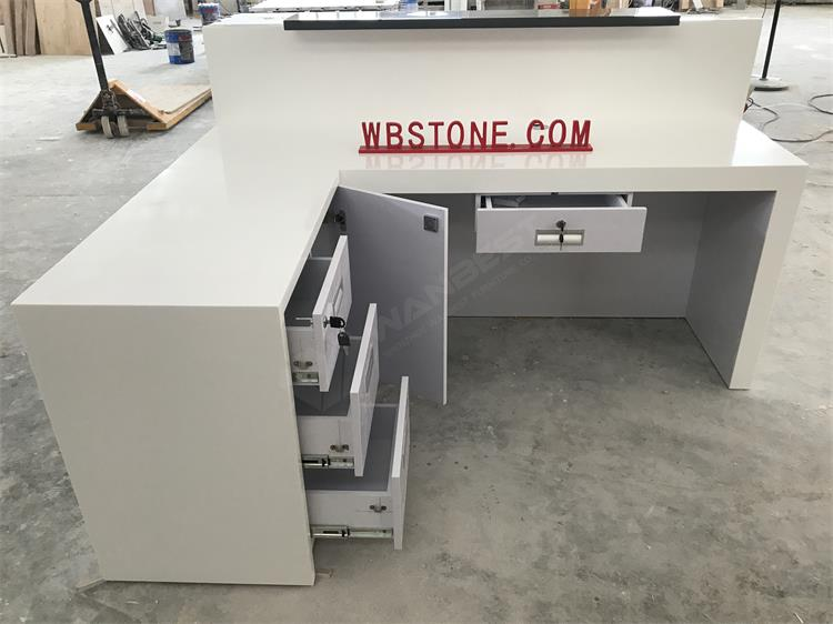 The behind of L shape reception desk