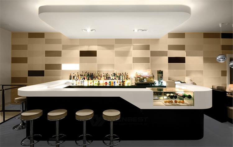 The front of corian bar counter