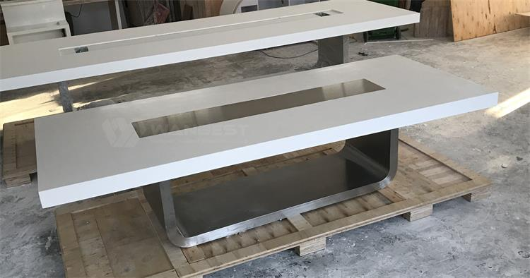 Conference table with stainless steel leg