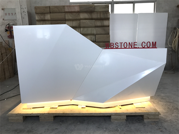 Diamond one seat white LED lighting corian reception desk