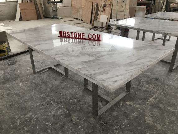 Marble counter top stainless steel legs meeting room table