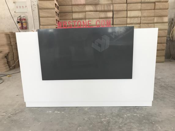 L shape white black solid surface luxury reception desk