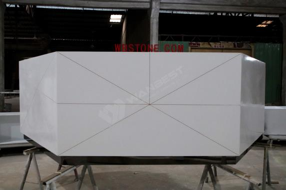 LED lighting large white elegant solid surface reception desk