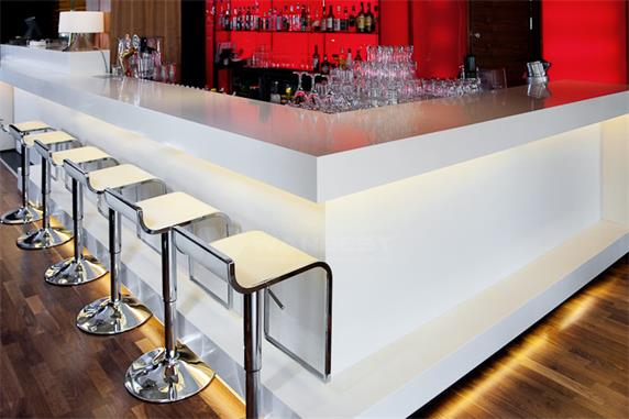 White Corian Stone Led Lighting Bar Counter For Sale
