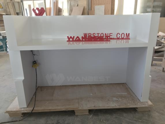 Three Block White Corian LED Lighting Reception Desk
