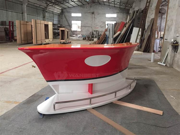 Red & white boat bar counter