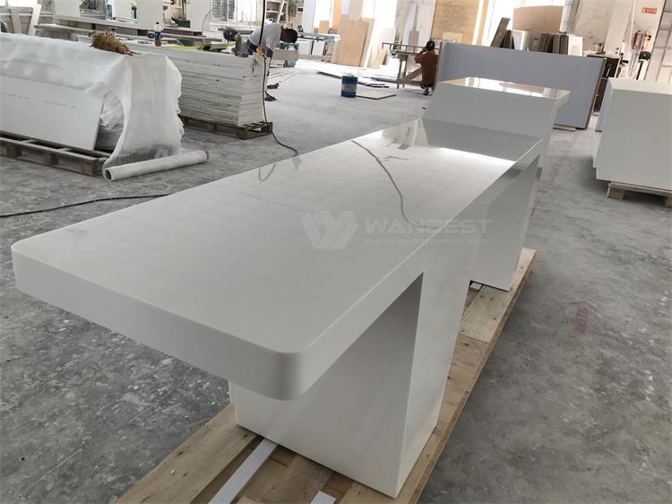 The side of solid surface office desk