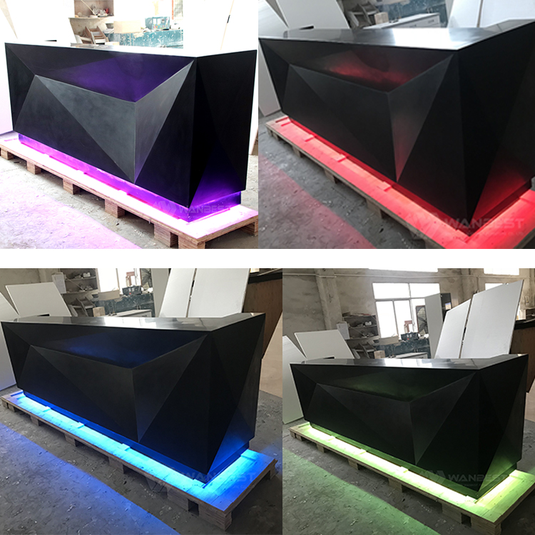 Modern Black matte artificial stone bar counter with LED
