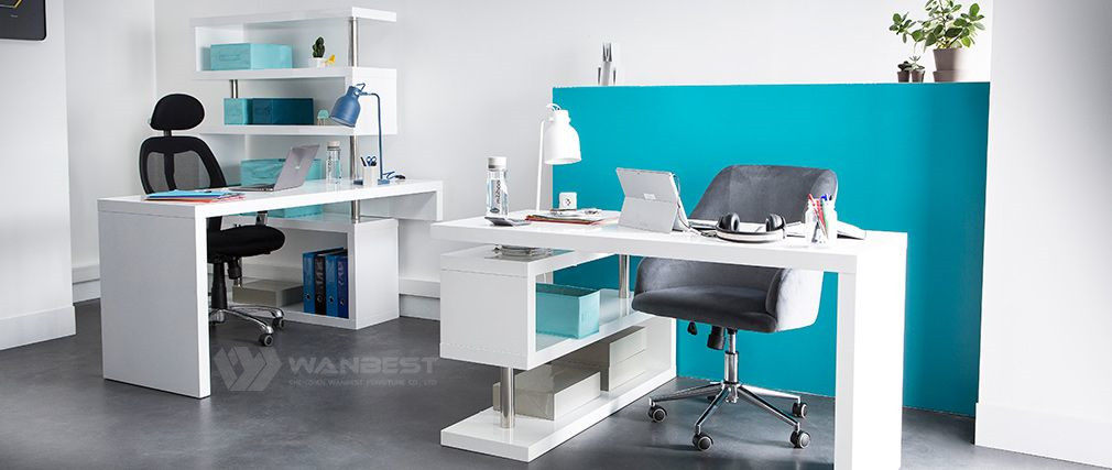 White corian office desk