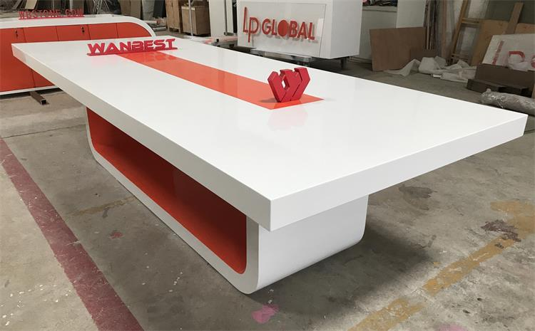 orange meeting room conference table