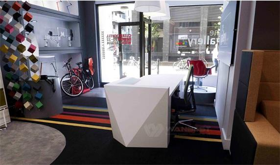 White diamond elegant solid surface reception desk