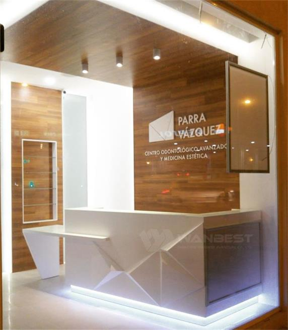 Modren Straight LED light white corian reception desk