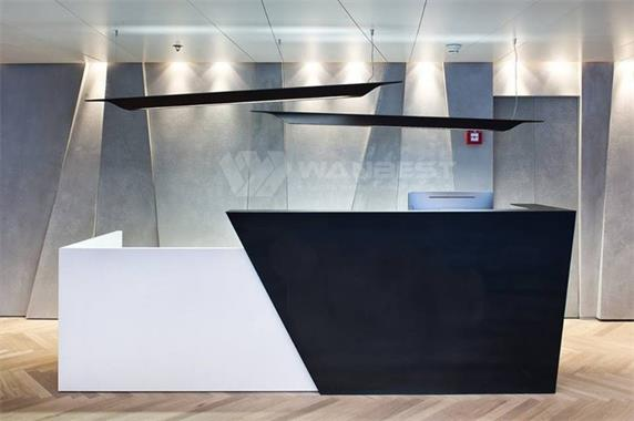White & black luxury corian modern client free design reception desk