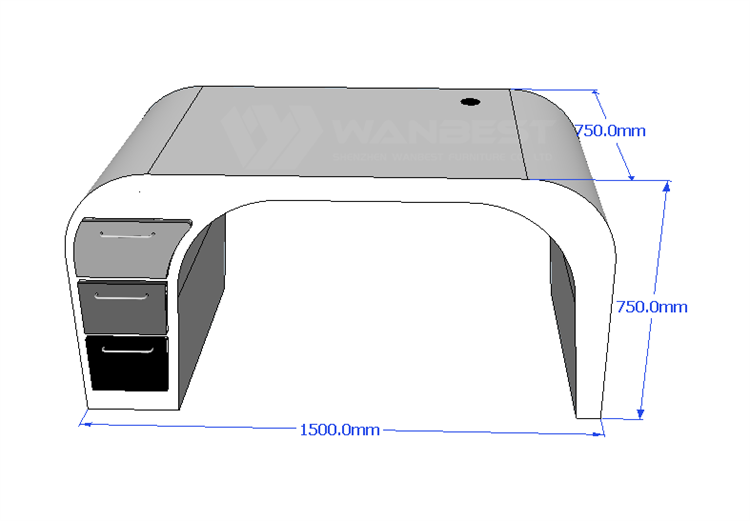 The front of Office desk 3D drawing
