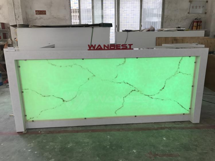 Solid surface bar counter- green light