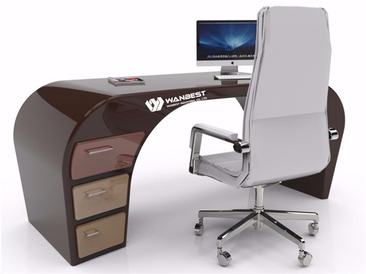 Grey solid surface office desk