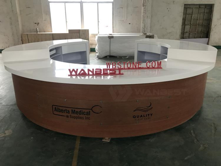 Round Customized Wooden & Solid Surface Reception Desk Furniture
