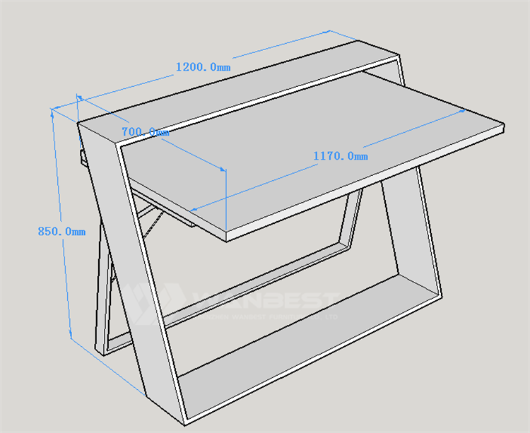 Office desk 3D drawing
