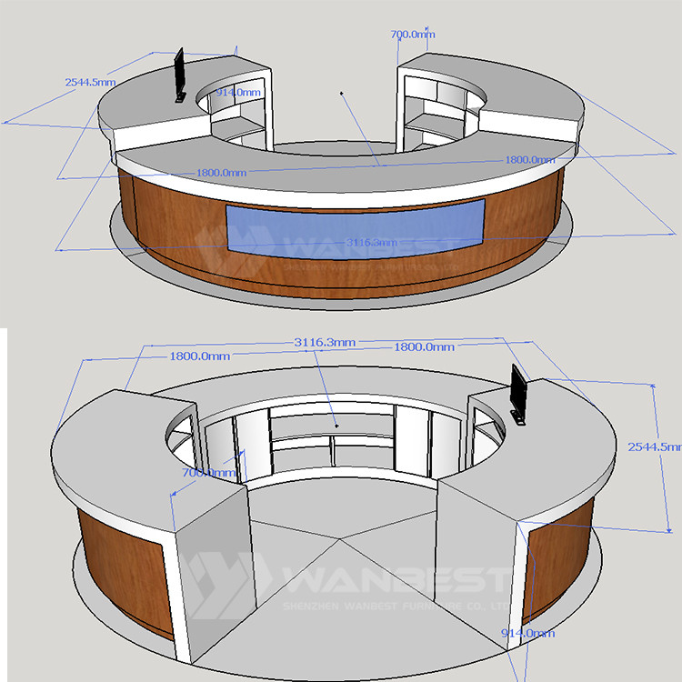 Reception desk 3D drawing