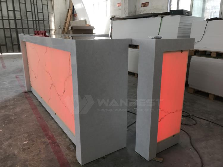 The side of corian bar counter