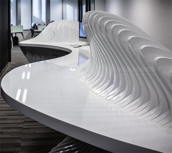 Ingenious bone-shaped artificial stone reception desk