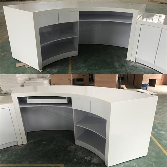Round Wooden & Solid Surface Reception Desk Furniture