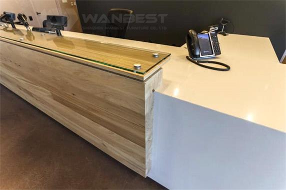 Straight high quality commercial corian & wooden front desk