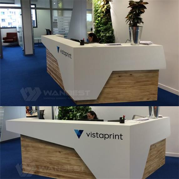 L shape customized cheap front desk furniture with LOGO