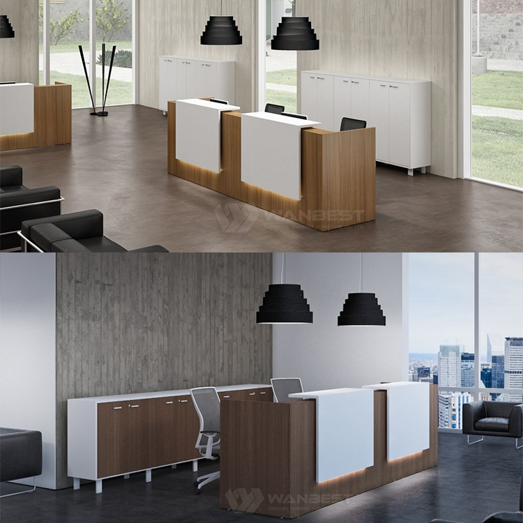 Wood & solid surface front counter