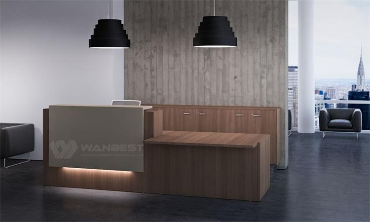 Hot sale wood & corian reception desk