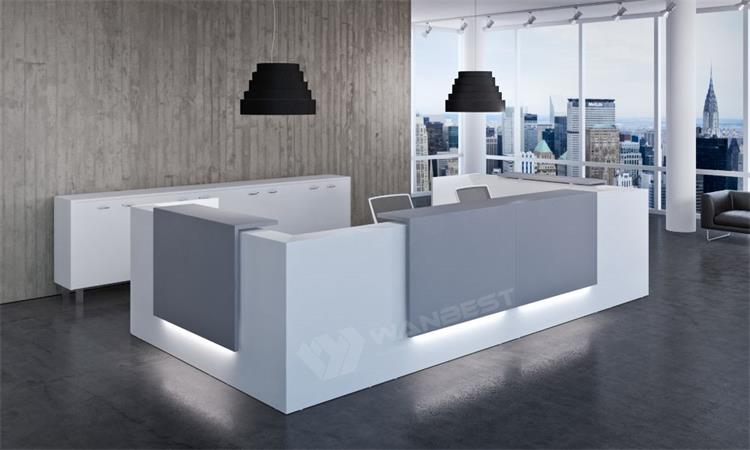 White solid surface front counter