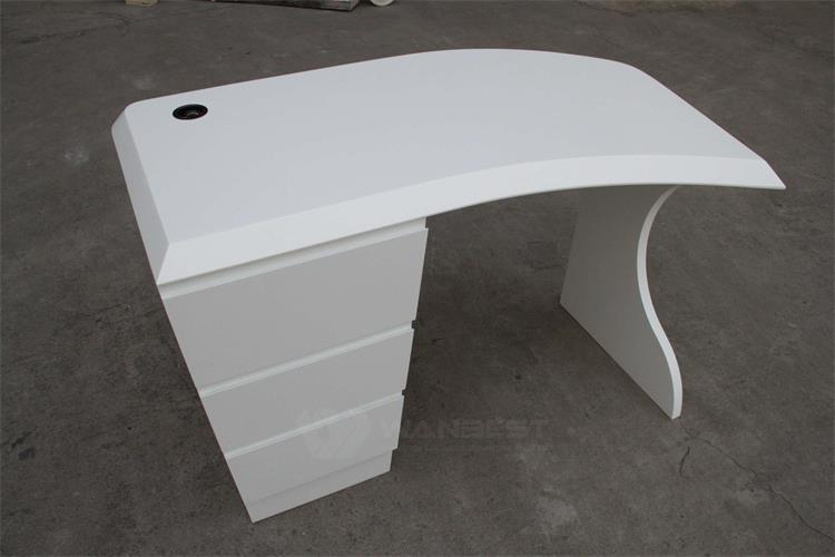 Solid surface white office desk