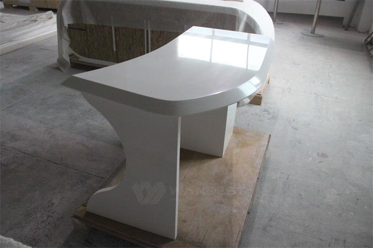 The side of artificial stone office desk
