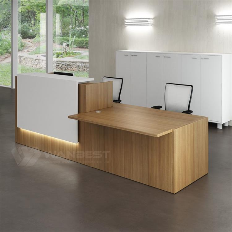 wood durable reception desk with LED