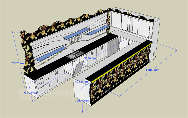 3D drawing bar counter (side)